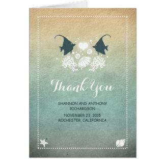 Casual Cute Beach Wedding Thank You Cards