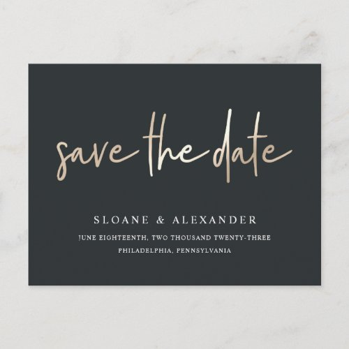 Casual Sketch Gold | Modern Wedding Save the Date Announcement Postcard