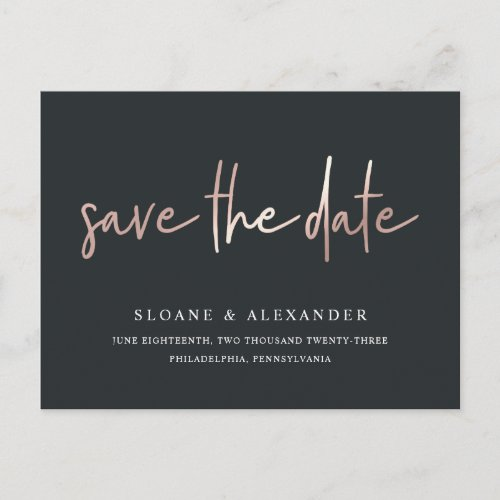 Casual Sketch Rose Gold | Modern Save the Date Announcement Postcard