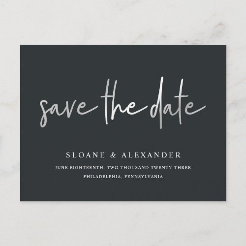 Casual Sketch Silver | Modern Save the Date Announcement Postcard