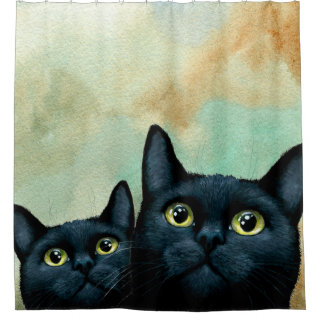 Cat 607 black cats shower curtain