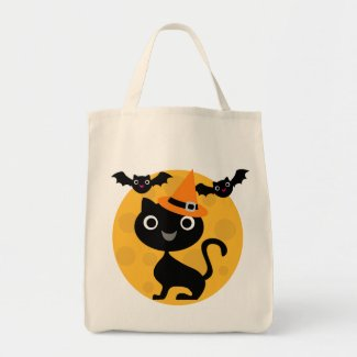 Cat and Bats Halloween T-shirts and Gifts Bags