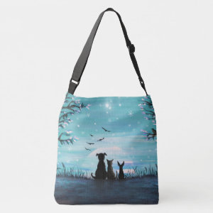 Cat and dogs Winter Sunset Crossbody Bag