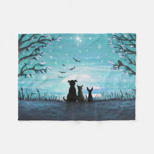 Cat and dogs Winter Sunset Fleece Blanket