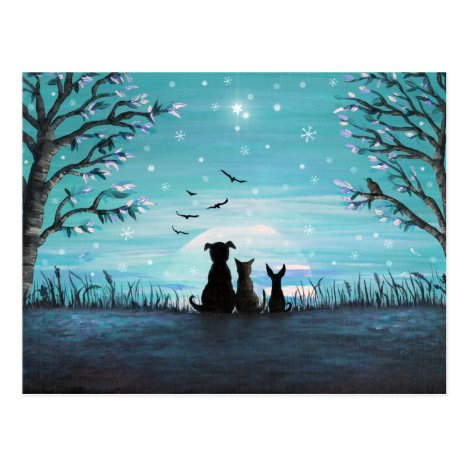 Cat and dogs Winter Sunset Postcard