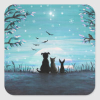 Cat and dogs Winter Sunset Square Sticker