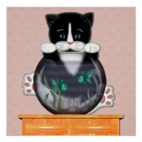Cat and Fishbowl Poster