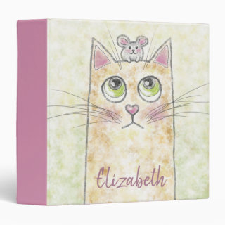 Cat and Mouse Illustration 3 Ring Binder