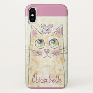 Cat and Mouse Illustration iPhone XS Case