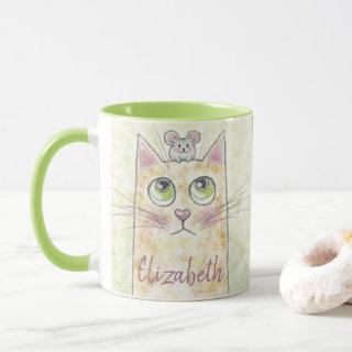 Cat and Mouse Illustration Name Mug
