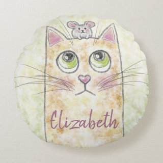 Cat and Mouse Illustration Round Pillow