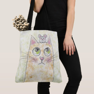 Cat and Mouse Illustration Tote Bag