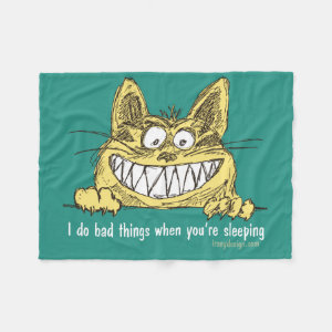 Cat Does Bad Things When You Sleep Fleece Blanket