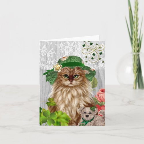 Cat in Hat St. Patrick's Day Notecard