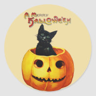 Cat in Pumpkin Vintage Halloween Stickers