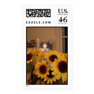 Cat in Sunflowers stamp