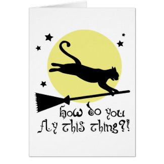 Cat on a Broomstick card