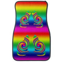 Cat Shaped Rainbow Twirl Car Mat
