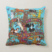 Cat Tree of Life 2 Throw Pillow
