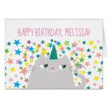 ❤️ Fun Unicorn Cat & Stars Birthday Card