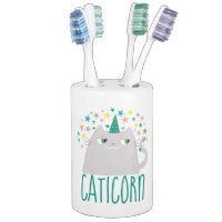 Cat White Unicorn Caticorn Colorful Stars Chic Bathroom Set