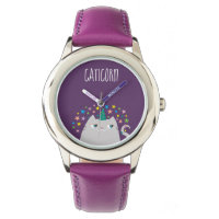 Cat White Unicorn Caticorn Colorful Stars Chic Watch