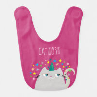 Cat White Unicorn Caticorn Colorful Stars Pink Baby Bib