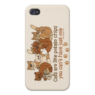 Cats are like potato chips iPhone 4 covers