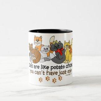 Cats are like potato chips mug
