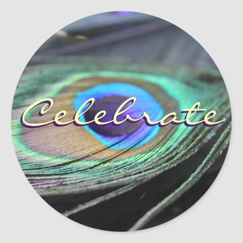 Celebrate Peacock Feather Custom Round Stickers