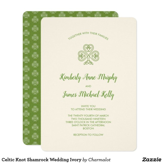 Celtic Knot Shamrock Wedding Ivory Invitation