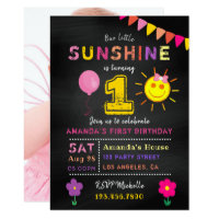 Chalkboard 1st Birthday Little Sunshine Girl Party Card