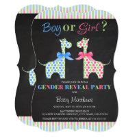 Chalkboard Boy or Girl Giraffe Gender Reveal Party Card