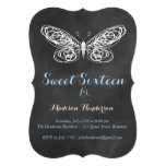 Chalkboard Butterfly Sweet Sixteen Invitation