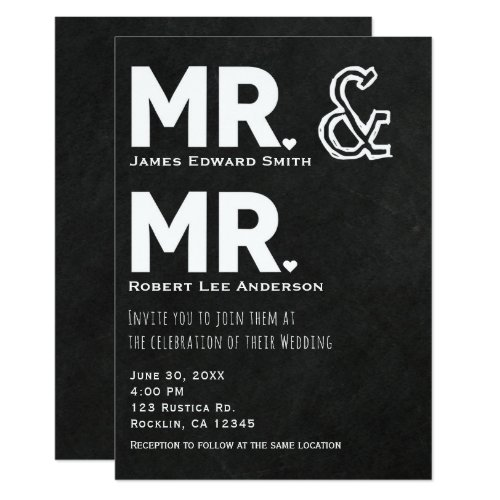 Chalkboard Chalk Mr. & Mr. Gay Wedding Engagement Invitation