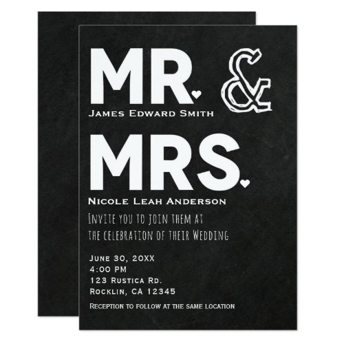 Chalkboard Chalk Mr. & Mrs. Wedding Engagement Invitation