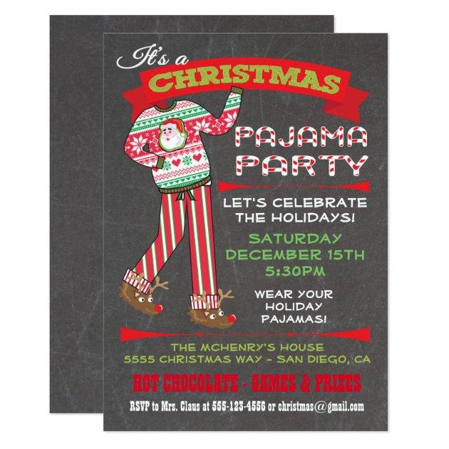 Chalkboard Christmas Pajama Party Invitations Zazzle