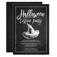 Chalkboard Costume Party Halloween Party Card