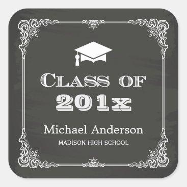 Chalkboard Elegant Frame Class of 2018 Graduation Square Sticker