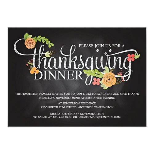 Chalkboard Floral Elegant Thanksgiving Dinner Invitation