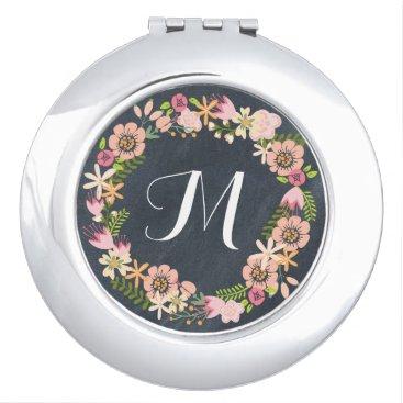 Chalkboard floral wreath monogram mirror compact