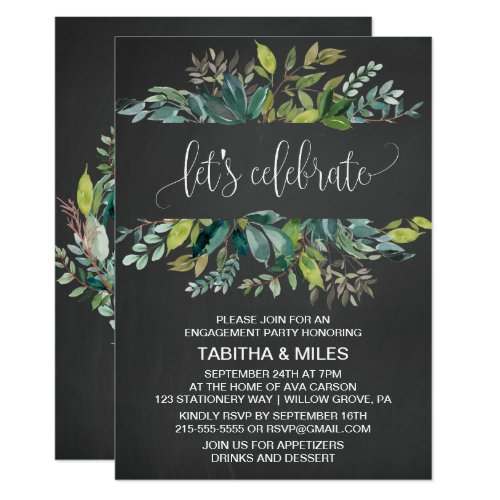 Chalkboard Foliage Lets Celebrate Engagement Party Invitation