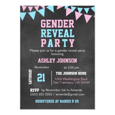 Chalkboard GENDER REVEAL PARTY Baby Shower Invitation
