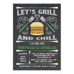 Fun Chalkboard Hamburger Grill & Chill I Do BBQ Invitation
