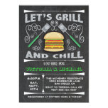 Fun Chalkboard Hamburger Grill & Chill I Do BBQ Invitation