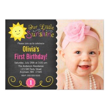 Chalkboard Little Sunshine Pink Yellow Birthday Invitation