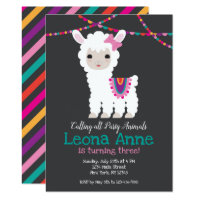 Chalkboard Llama Alpaca Birthday Invitation