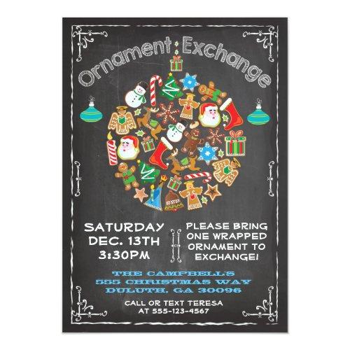 Chalkboard Ornament Exchange Invitation