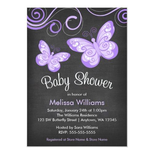 Chalkboard Purple Butterfly Swirls Baby Shower Invitation