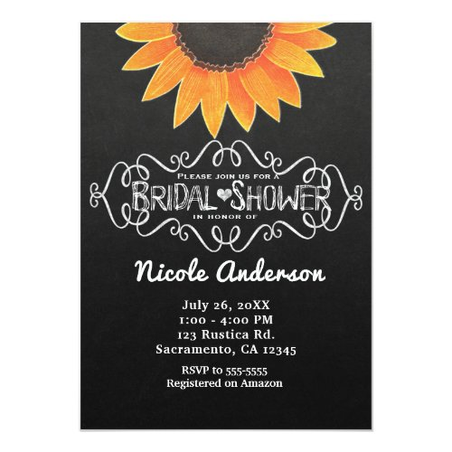 Chalkboard Sunflower Rustic Country Bridal Shower Invitation